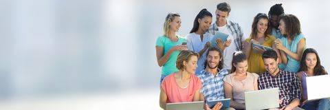 Group class of Students in front of blurred background Stock Photography