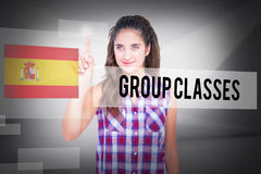 Group classes against abstract white room Stock Image