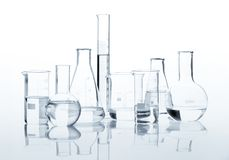Group of classic laboratory flasks Stock Images