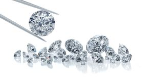 Group of diamonds on a white background