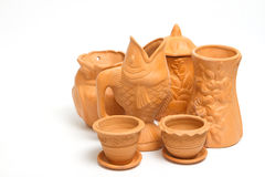 Group of clay vases for gardening Stock Photos