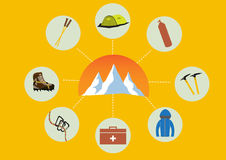 Group of climb equipment with mountains stock illustration