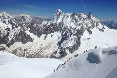 Group of climbers ascend from Vallee Blanche. France stock photos