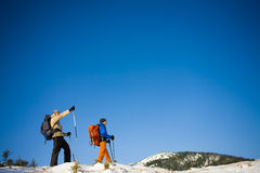 A group of climbers in the mountains. Royalty Free Stock Photo