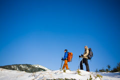 A group of climbers in the mountains. Stock Image
