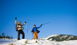 A group of climbers in the mountains. Royalty Free Stock Photos