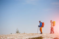 A group of climbers in the mountains. Royalty Free Stock Photography
