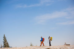 A group of climbers in the mountains. Stock Photos