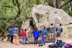 Group of climbers practicing bouldering royalty free stock images