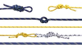 Group of climbing ropes and knots Stock Photo