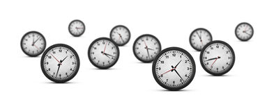 Group of clocks on white background Royalty Free Stock Image