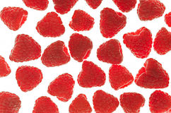 Group close-up red raspberries Royalty Free Stock Photos