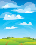 Group clouds on blue sky. And green meadow with road Stock Images