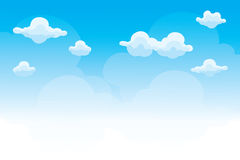 Group of clouds on blue sky, background of cartoon clouds Stock Images
