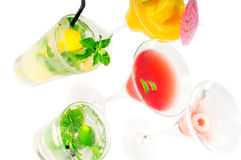 Group of cocktails drink isolated on white Stock Photos
