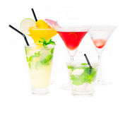 Group of cocktails drink isolated on white Royalty Free Stock Photos