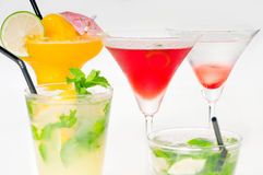 Group of cocktails drink isolated on white Stock Photo