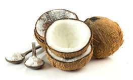 Group of coconuts on white background. Whole,broken and grated coconut - tropical fruit on white background Stock Photo