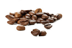 Group of coffee beans on a white background. Stock Photo