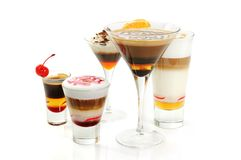 Group of coffee cocktails stock photography