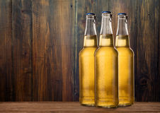 Group of cold wet beer bottles on the grunge background Royalty Free Stock Photo