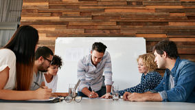 Group of colleagues having a brainstorming session. In conference room. Young men explaining business plans to coworkers during meeting in boardroom Royalty Free Stock Image