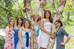 Group of college Girls. In the Park Stock Photo