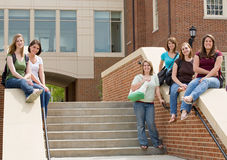 Group of college Girls. On Campus Royalty Free Stock Photo