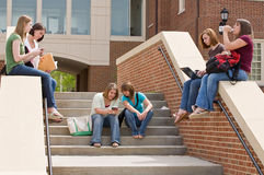 Group of college Girls. On Campus Studying Stock Photography