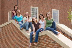 Group of college Girls. On Campus Stock Photography