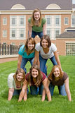Group of College Girls. In Pyramid stock images
