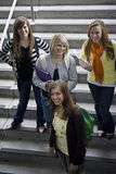 Group of College Students. A group of attractive female college students smiling on their way to class stock images