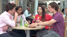 Group Of College Students Eating Lunch Together stock video