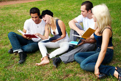 Group of college students outdoors Royalty Free Stock Images