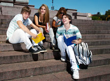 Group of college students outdoors Royalty Free Stock Photo