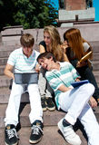 Group of college students outdoors Stock Image