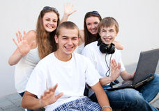 Group of college students outdoors. Happy group of college students outdoors Stock Photos