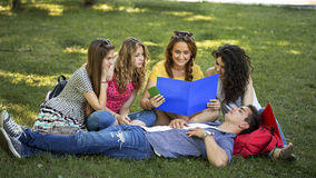 Group of college students. Outdoors Stock Image