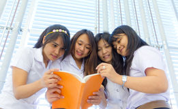Group of College students reading together Royalty Free Stock Photos
