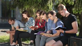 Group of college students studying together stock video footage