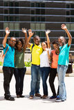 Group college students waving Stock Photography