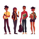 Group of college, university students with books and phones Stock Photo