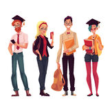 Group of college, university students with books and phones. Group of full height college, university students with books and phones, cartoon style illustration Royalty Free Stock Photo