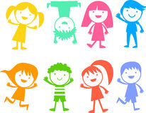 Group of color children Stock Image
