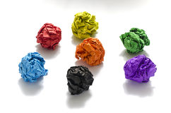Group of color crumpled paper ball. On a white background Royalty Free Stock Photo