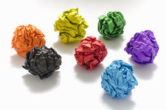 Group of color crumpled paper ball. On a white background Royalty Free Stock Photography