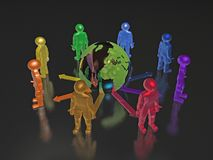 Group of color mans Stock Illustration
