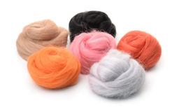 Group of color needle felting wool Stock Photography
