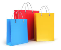 Group of color paper shopping bags Stock Photos