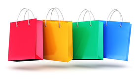 Group of color paper shopping bags Royalty Free Stock Photography
